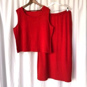 VINTAGE | Wool knit coordinating maxi skirt set